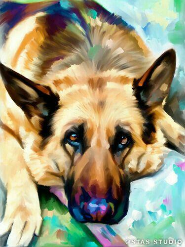Watercolor Painting German Shepherd Art Dog Paintings Dog Art