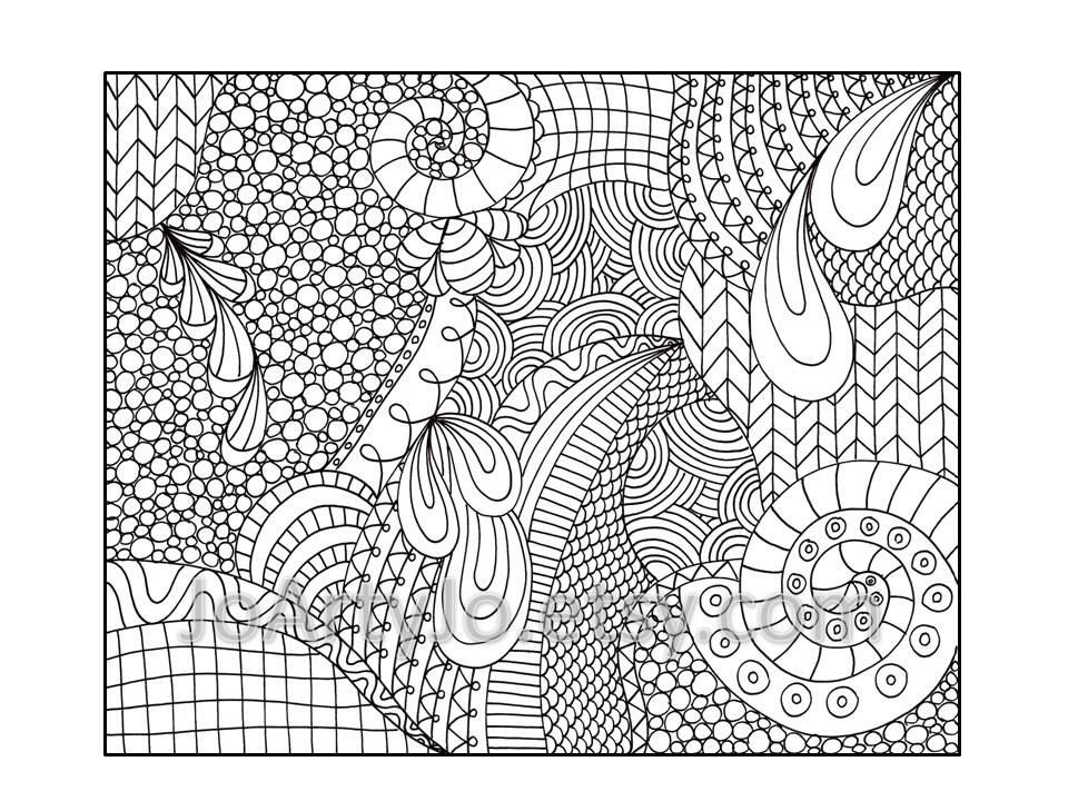 Zentangle Inspired Coloring Page Printable Pdf Zendoodle Pattern