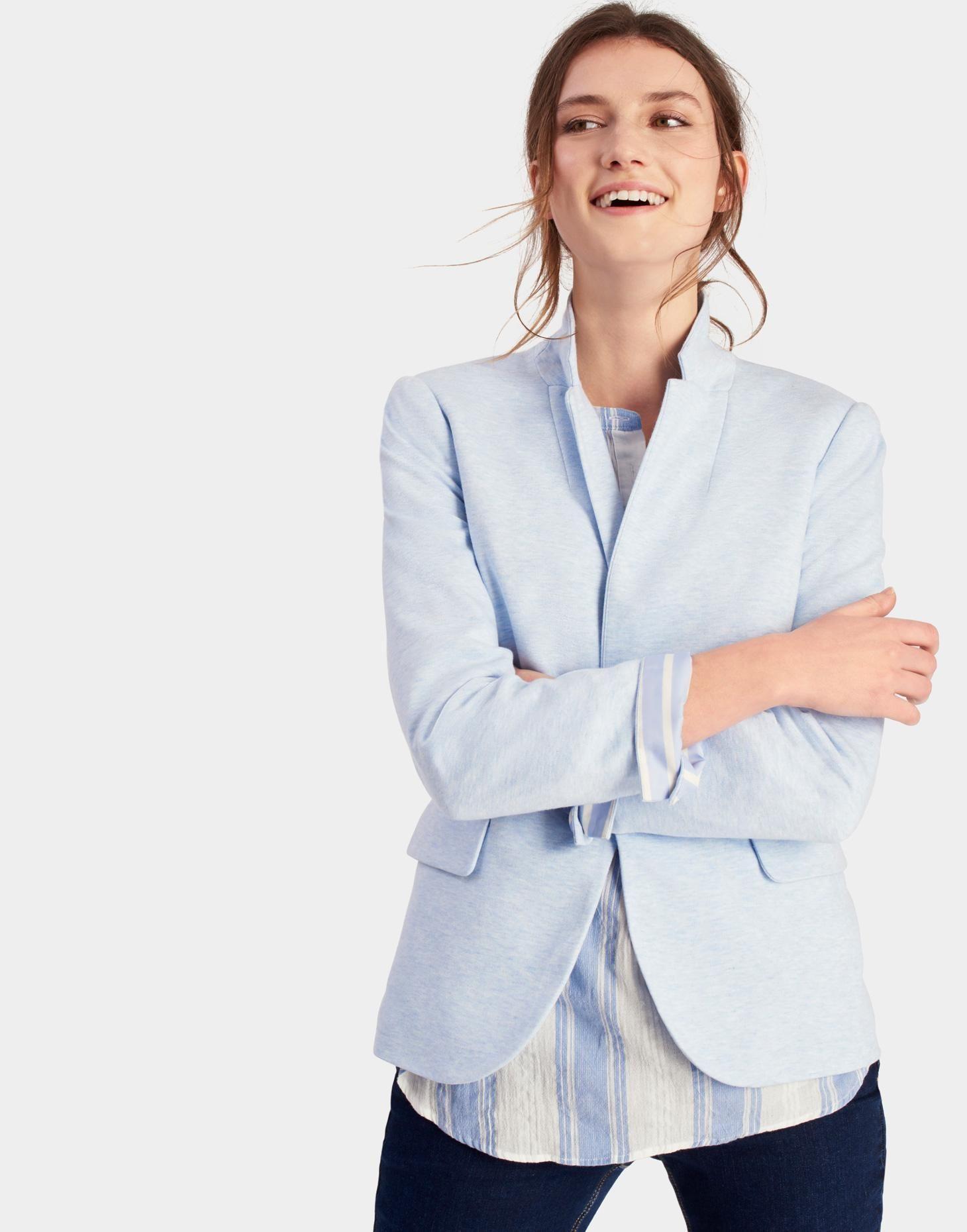 Mollie Sky Blue Soft Jersey Blazer  | Joules US