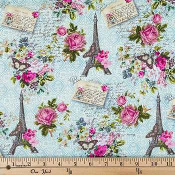 Vintage Paris Postcard Apparel Fabric by ScootToBoot on Etsy