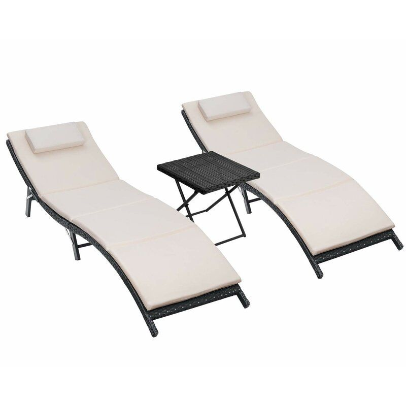 Nelsen Sun Lounge Reclining Chaise Lounge With Cushion And Table