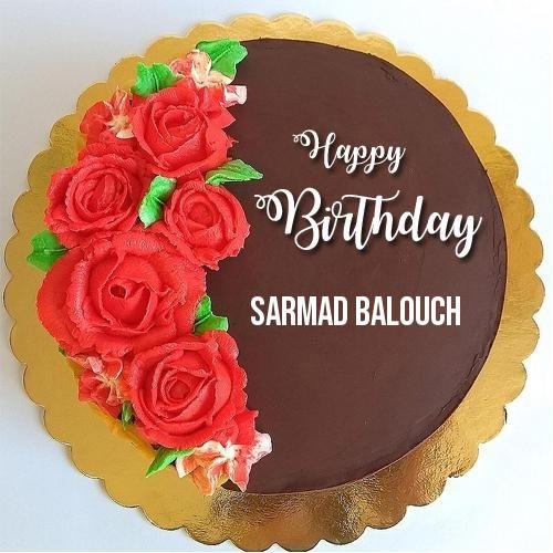 write name on beautiful chocolate rose birthday cake