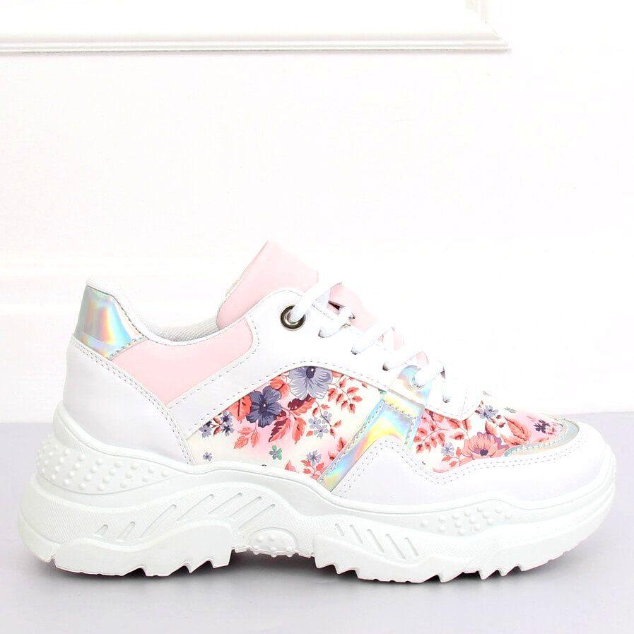 Trampki Damskie Butymodne Buty Sportowe W Kwiaty Biale 3002 White Flower Red Sneakers Nike Shoes Nike Huarache