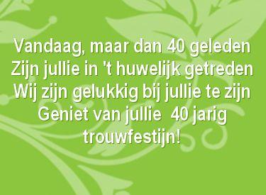 Gedicht Jubileum 40 Jaar