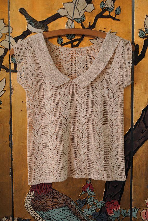 Vintage Crochet Peter Pan Collar Top - Extra Small/ Petite ...