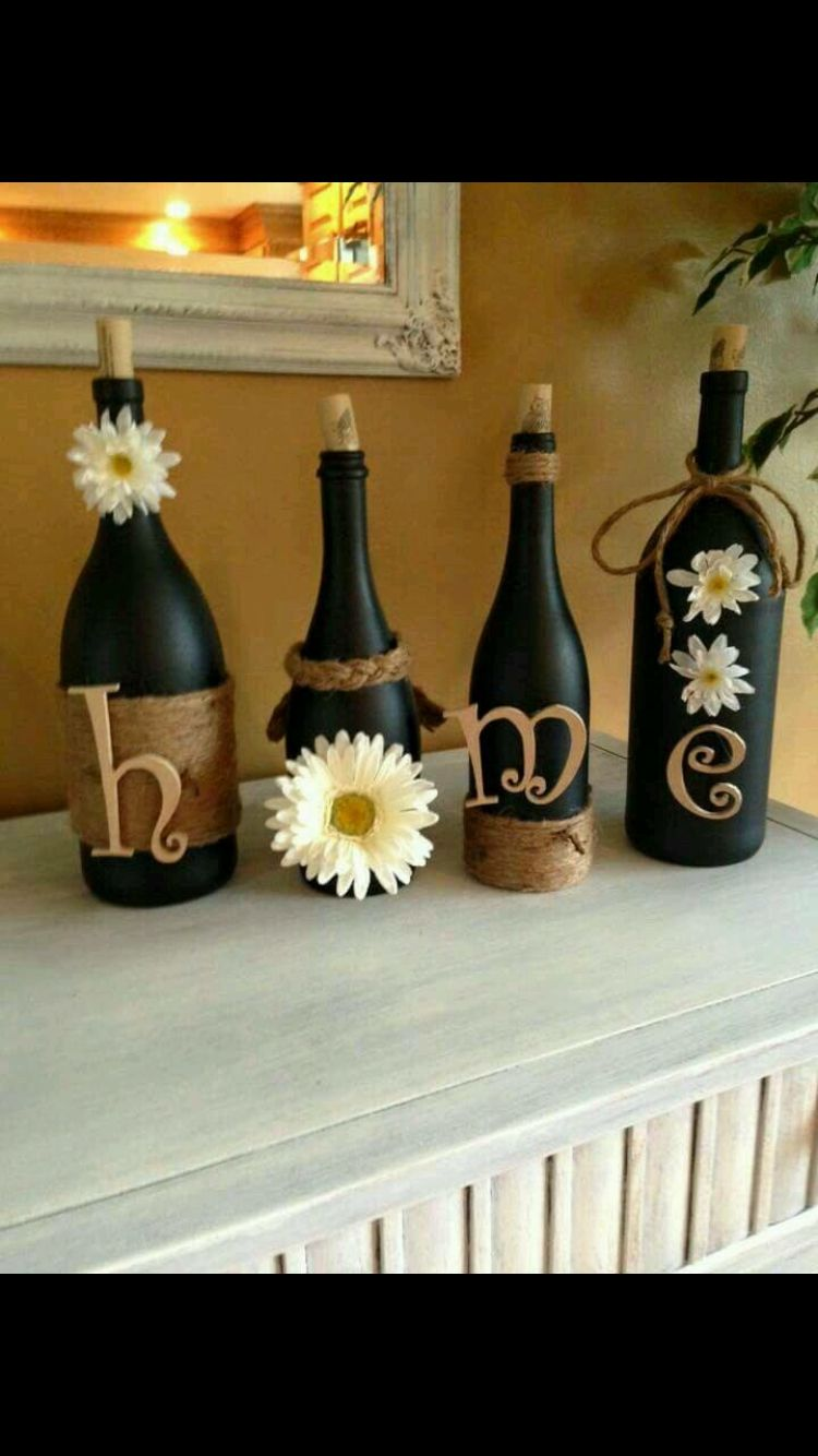 Cute Diy Home Decor Everyone Has Bottles Have Removable Stuff On Them To Change With The Seasons