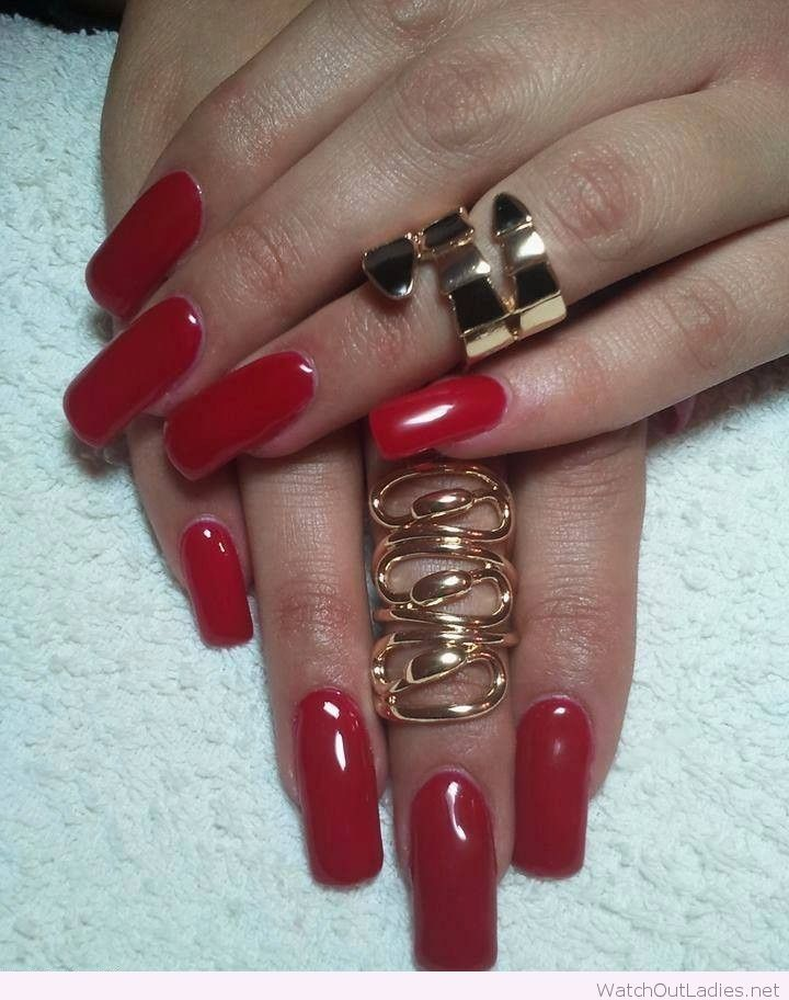 Cute long red nails with statement rings | watchoutladies.net ...