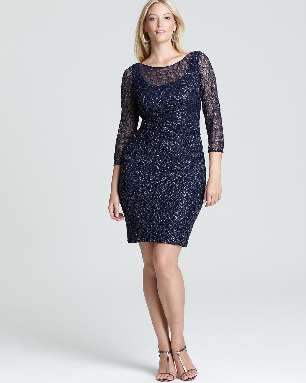 David Meister Plus Three Quarter Sleeve Lace Dress - Plus Style ...