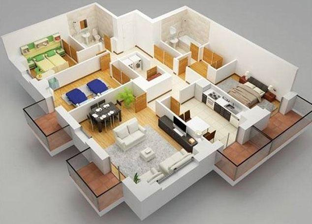 Plano de departamento de 3 dormitorios con lavadero for Lavaderos de casas decoracion