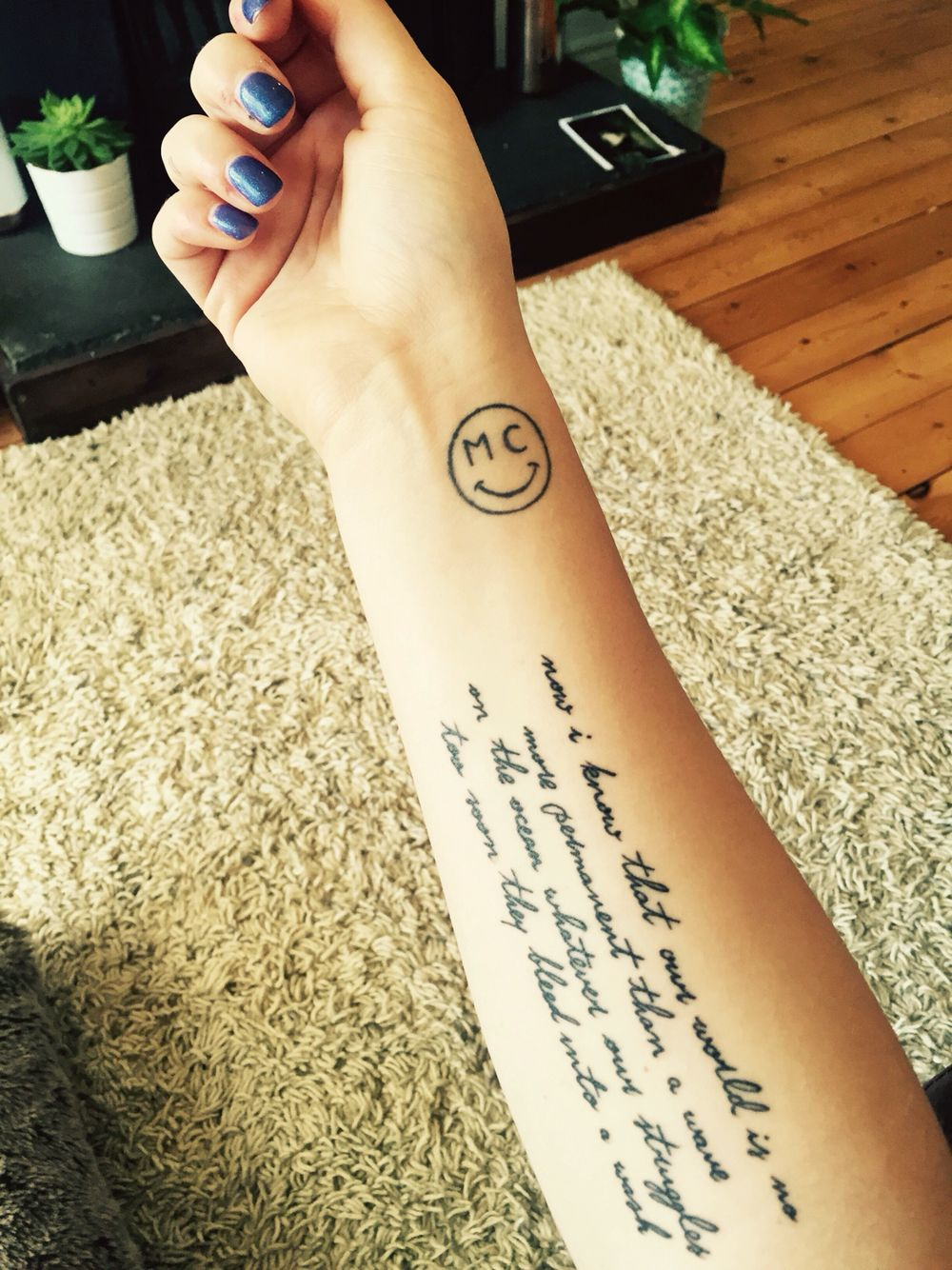 Now I Know That Our World Is No More Permanent Than A Wave On The Ocean Whatever Our Struggles Too Soon They Bleed In Long Quote Tattoo Tattoos Miley Tattoos