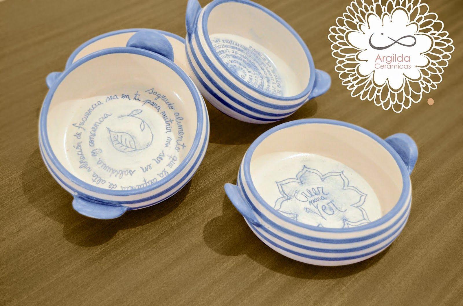 Juego de 4 cacharros con frases activadoras de alimento, en cerámica de gres.  gildatomasini.blogspot.com.ar facebook.com/Argilda