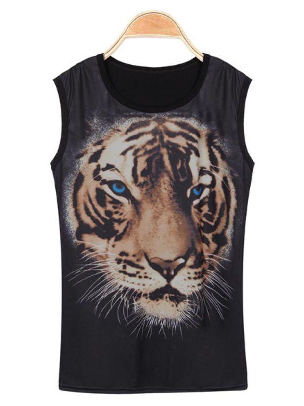 'The Nailah' Tiger Printed Sleeveless Tee
