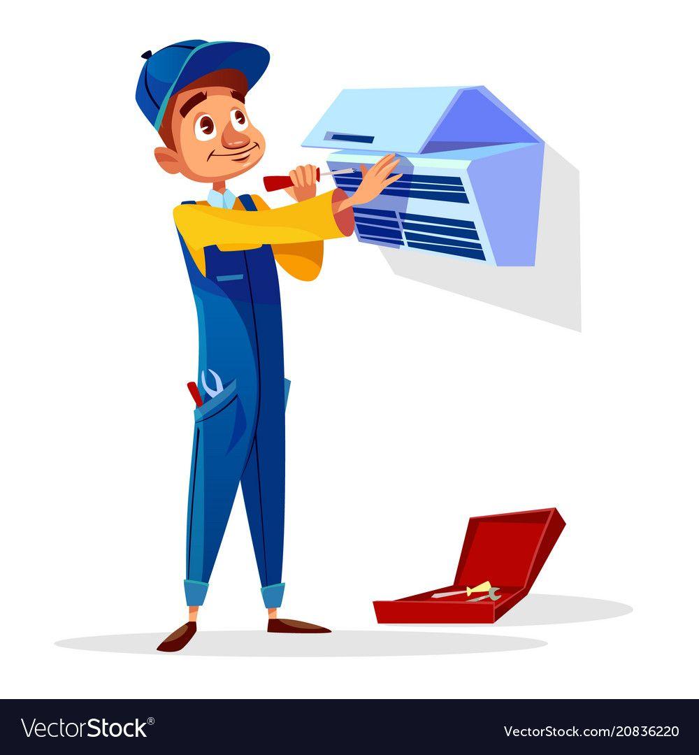 Air Conditioner Repair Man Cartoon Vector Image On Vectorstock Air Conditioner Repair Air Conditioner Maintenance Air Conditioner