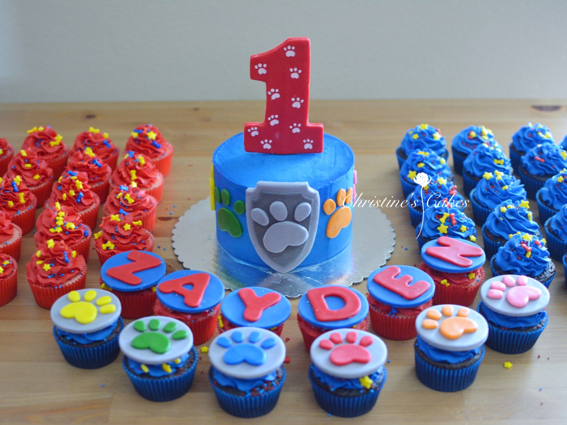 Paw Patrol Birthday Smash Cake Cupcake Toppers And Cupcakes With