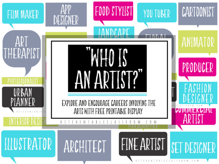 Looking At Jobs In The Arts Printable Resources The Kitchen Table Classroom Printable Art Artists Set Art Prompts