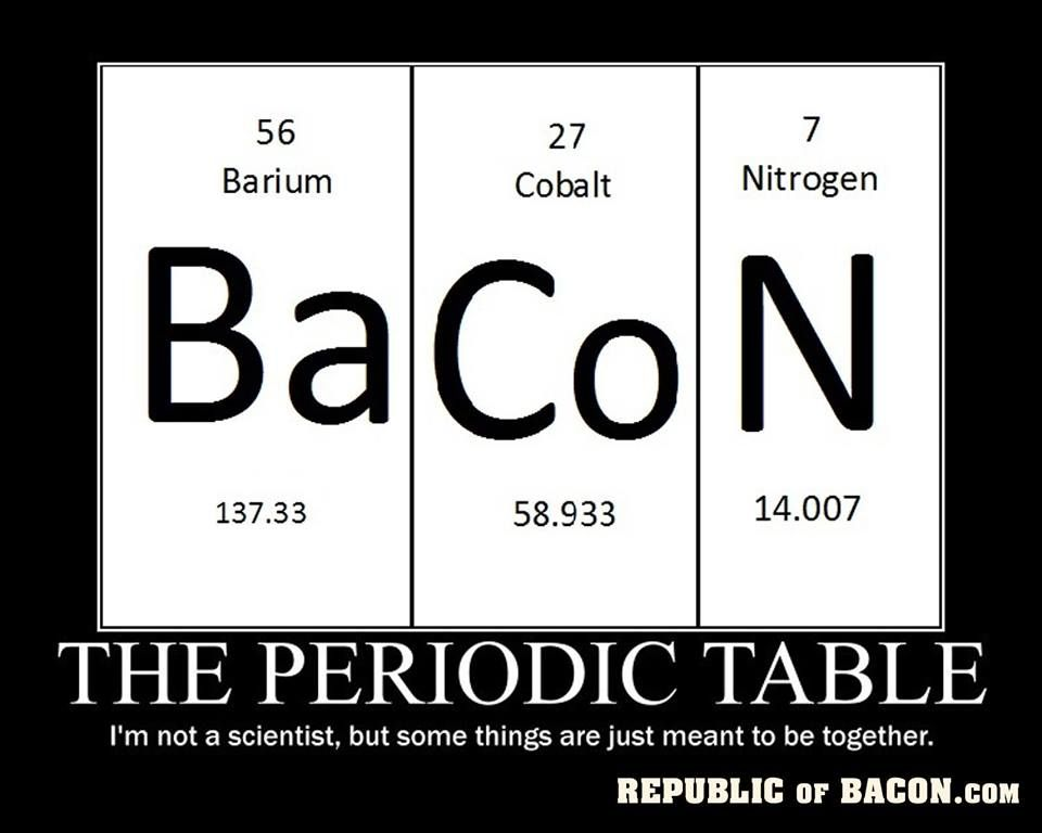 313 best Bacon images on Pinterest Bacon bacon, Funny stuff and - best of periodic table puns
