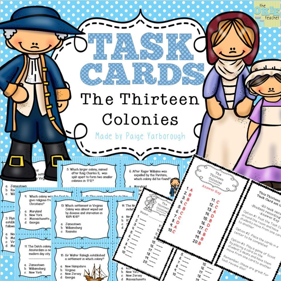 Thirteen Colonies Super Social Studies Task Cards Task