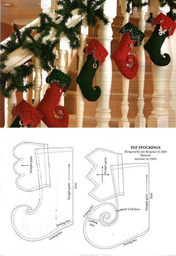 Botas Navidad.: | Patrones | Pinterest | Navidad, Adornos de navidad ...