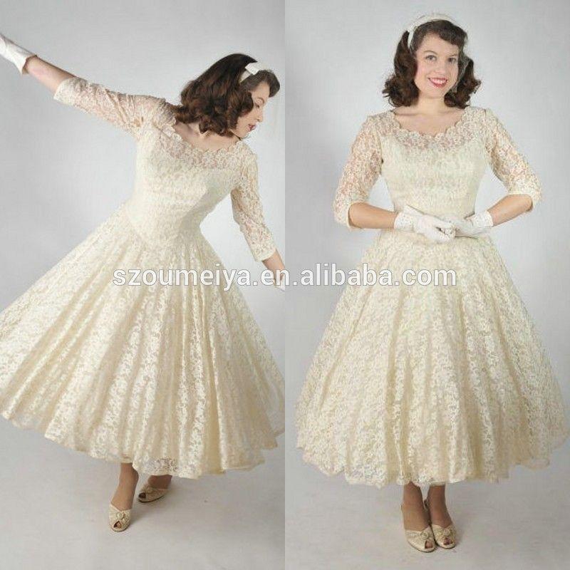 Find More Wedding Dresses Information About ONW786 Scoop Half Sleeve Tea Length Cream Color 1950s Vintage