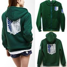 M, Green Anime Hoodie Wings of Liberty V/êtements AOT Survey Corps Cosplay Capuche Zip Up Hoody Sweatshirt Costume