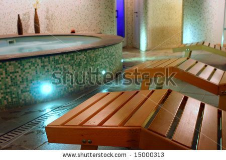 stock photo : Spa relax room with couches, sauna, hydromassage and turkish bath