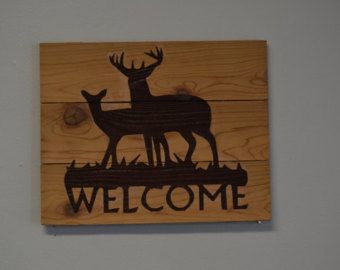 Pallet Wood Welcome Sign with wildlife scene. | Pallet Wood ...