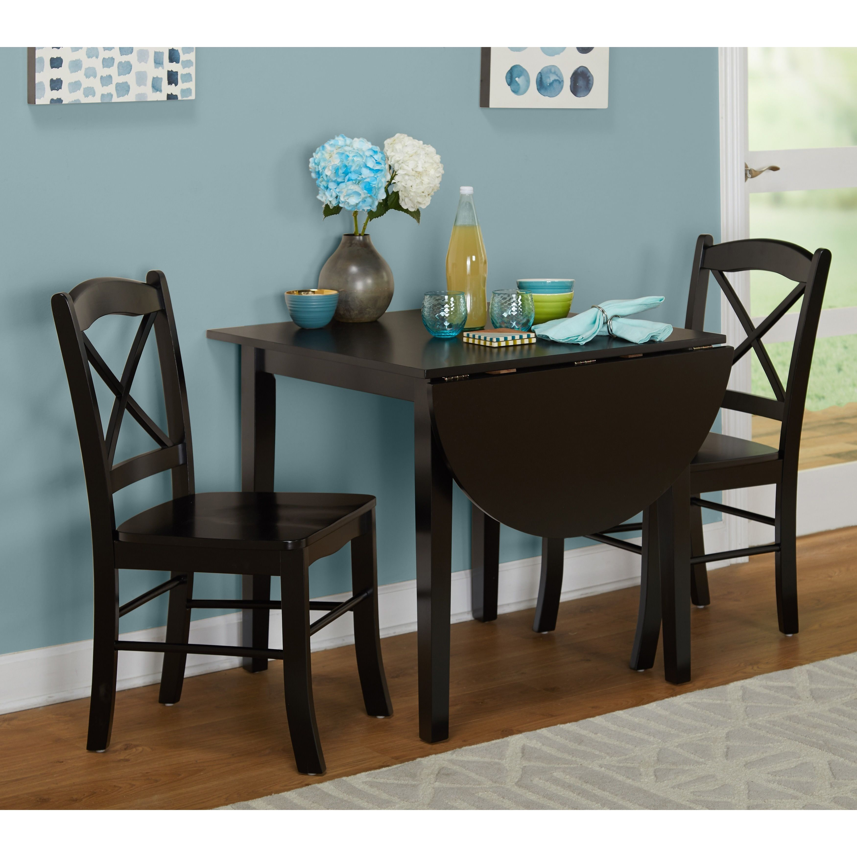 Simple Living Black 3 Piece Country Cottage Dining Set 3pc Size Sets