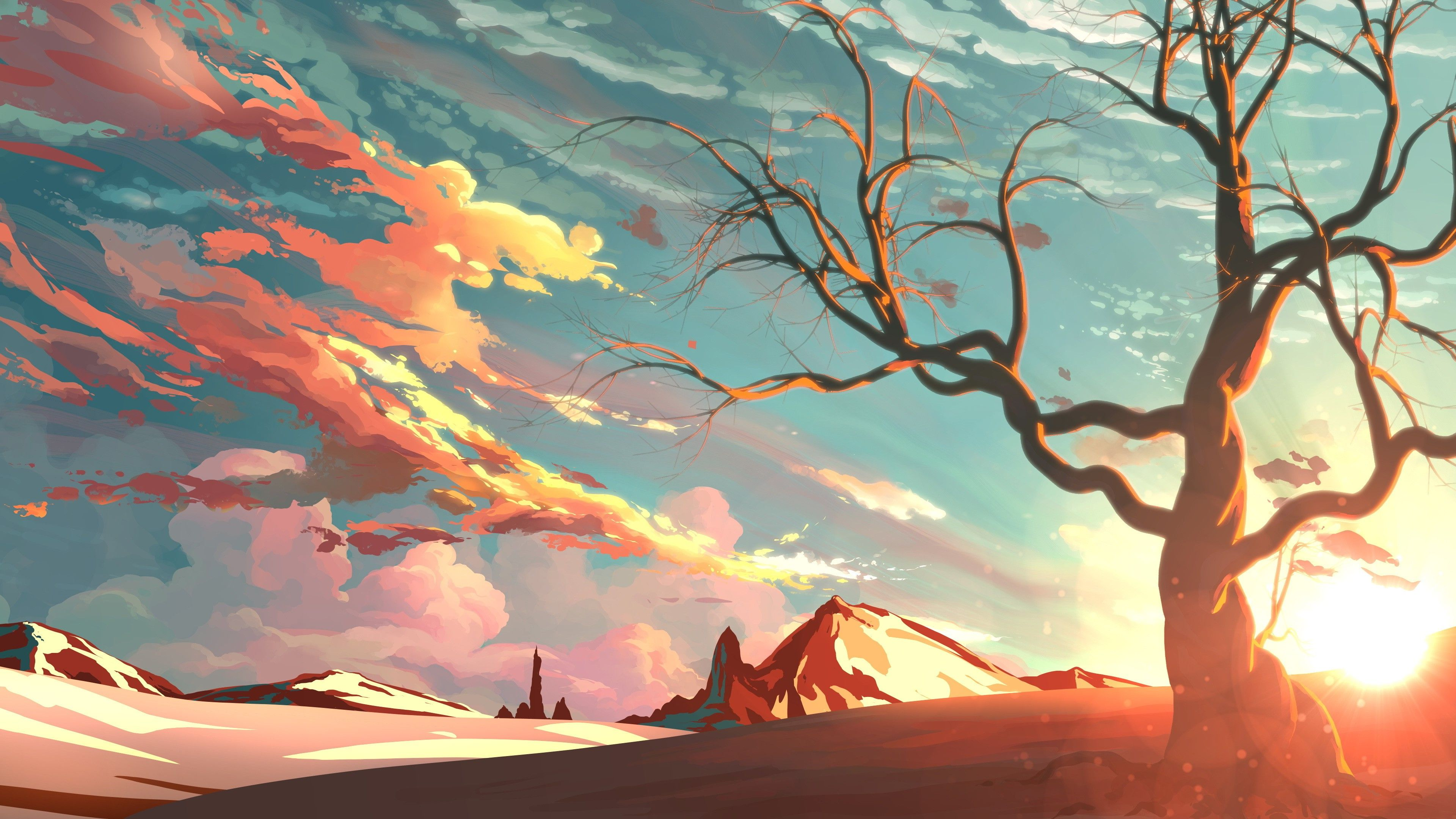 Artwork Digital Art Landscape Valley Sunset Wallpapers Hd Sunset Painting Fantasy Art Landscapes Sunset Art