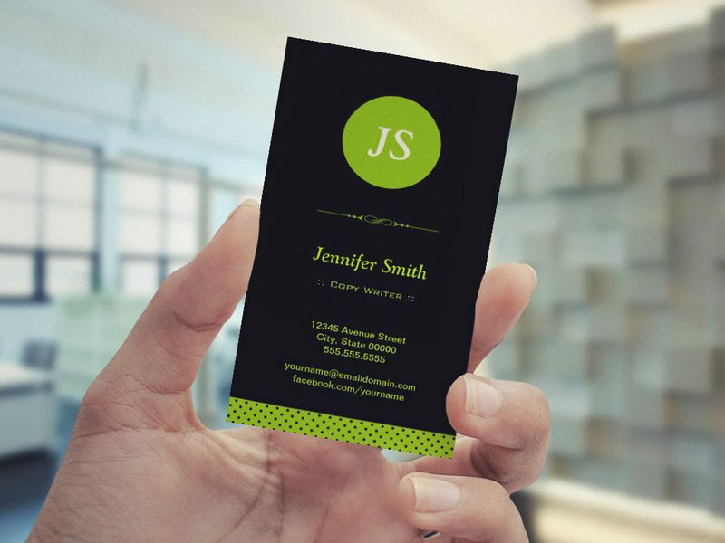 Copy writer stylish apple green business card template pinterest copy writer stylish apple green business card template reheart Images