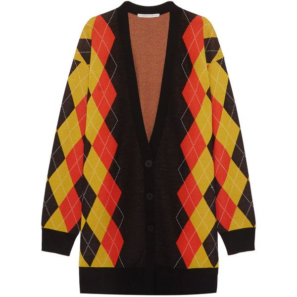 Stella McCartney Oversized argyle wool cardigan (9.155 NOK) ❤ liked on Polyvore featuring tops, cardigans, charcoal, oversized tops, stella mccartney, color block tops, colorblocked cardigan and wool cardigan
