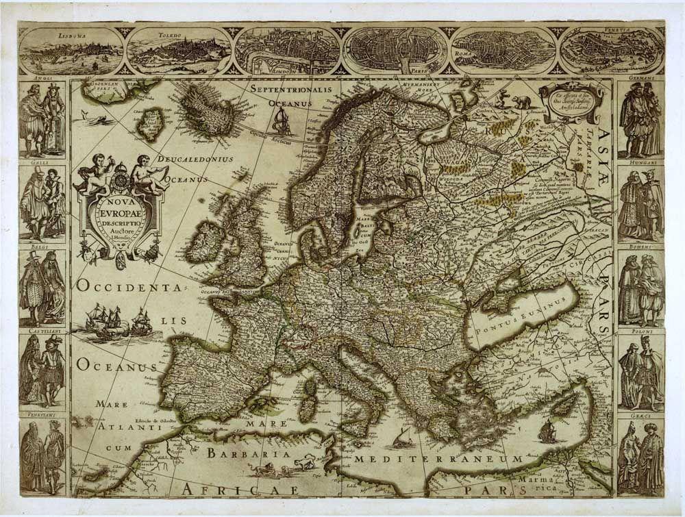 Retro Art Woonkamer : Oude middeleeuwse europa vintage kaart muur art hd foto canvas