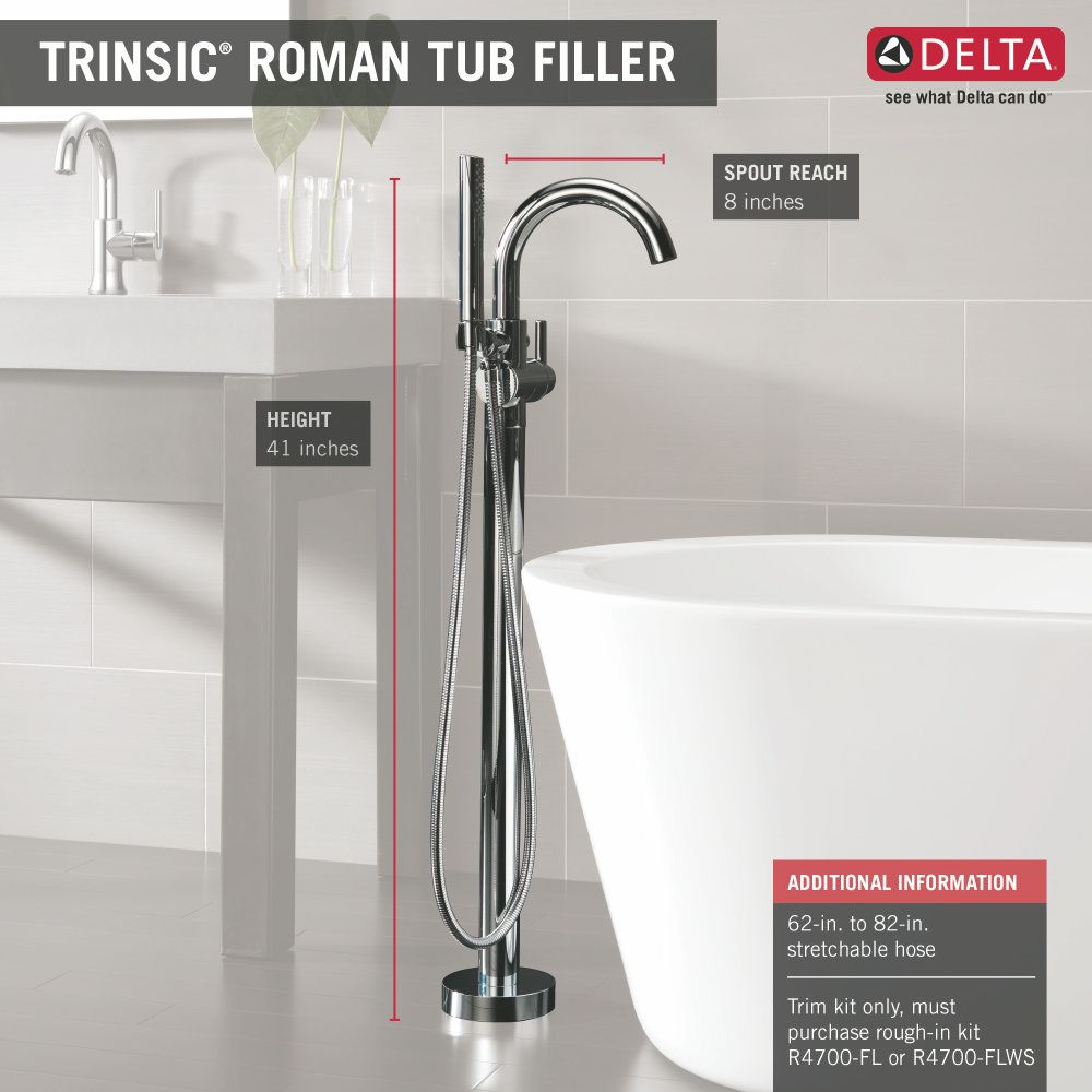 $675 Delta Faucet T4759-FL Trinsic Polished Chrome Freestanding Tub ...
