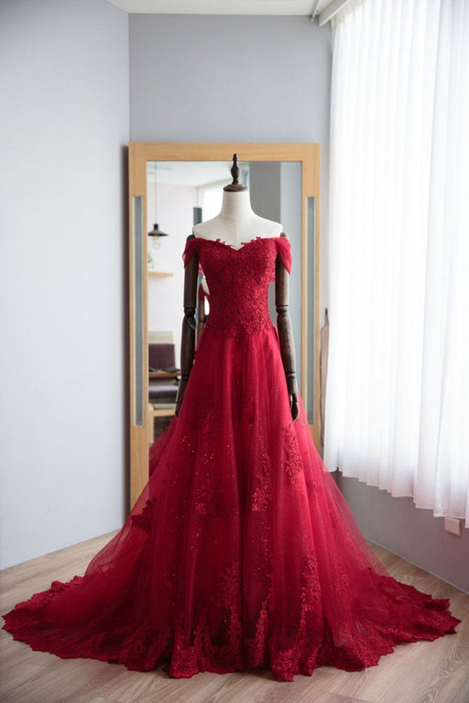 red sweetheart lace tulle long prom dress, red | Ball gowns ...