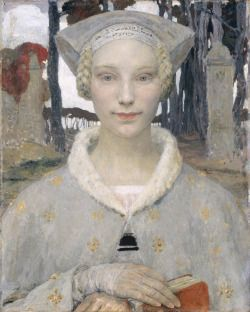 "amare-habeo:  "" Edgar Maxence (French, 1871-1954)  The Book of Peace (Le livre de Paix), N/D  Oil on canvas  Musée des Beaux-Arts de Bordeaux, France  """