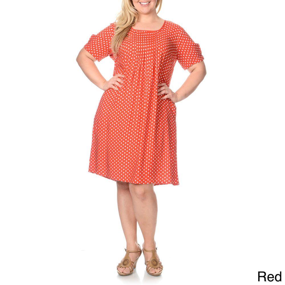 La Cera Womens Plus Size Polka Dot Print Dress Polka Dot Print