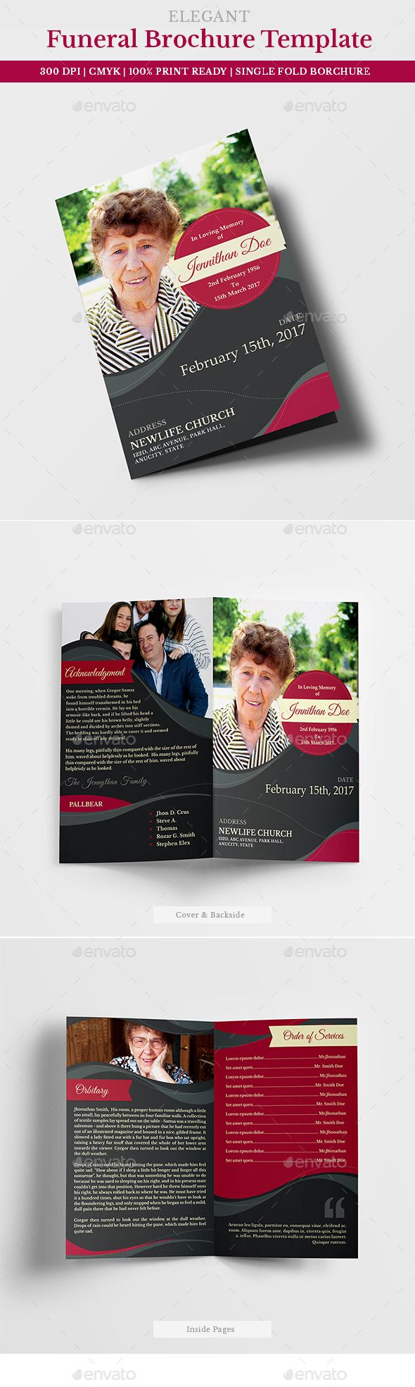 Funeral Program Brochure Template   Brochure Template