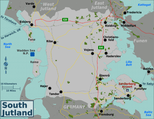 South Jutland cities are Esbjerg Christiansfeld Haderslev Hjer