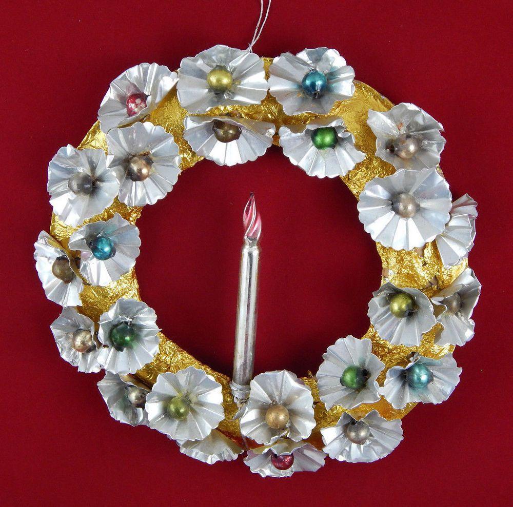 Vintage Aluminum Foil Christmas Wreath w Mercury