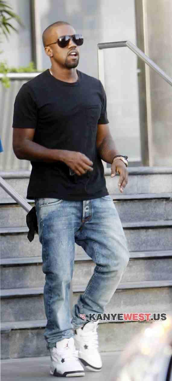 quality design 2158e 4a168 Celebrity Kicks  Best believe Kanye West is rockin his White Cement 4s  around.