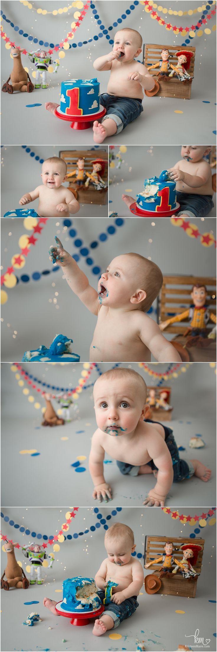 1st Birthday Theme Disney S Toy Story Cake Smash Photography Session Toy Story Birthday Party Baby First Birthday Toy Story Birthday