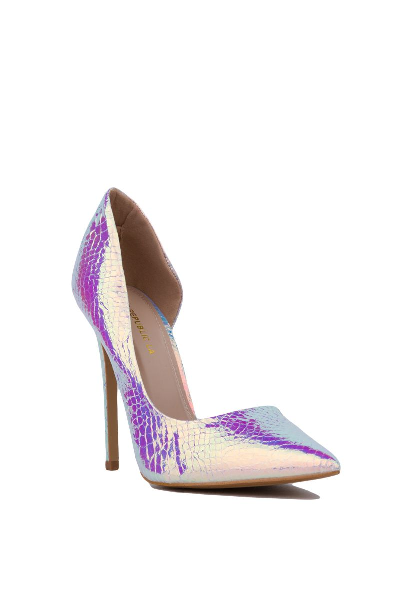 The Pointed Toe Hologram Dorsay Pumps in Silver feature a pointed toe, tapered heel, and a textured body on a classic d'Orsay cut. Free standard U.S. shipping $75+.