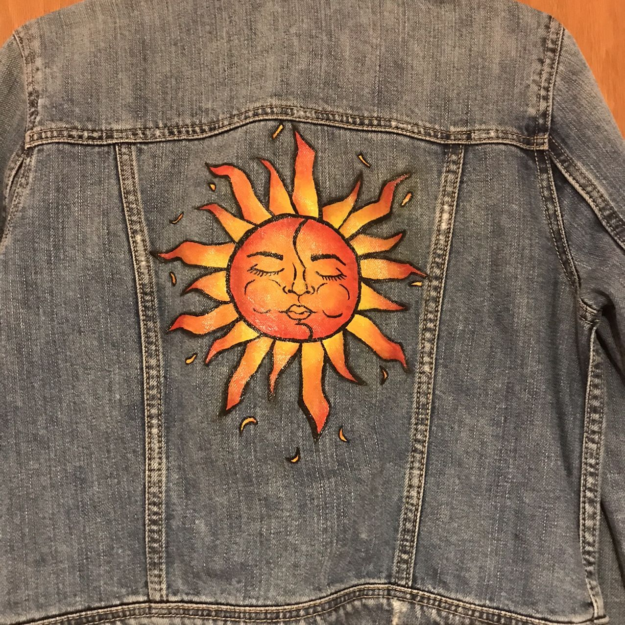 Sunshine jean jacket 🌞 Hand painted by me Blue... - Depop
