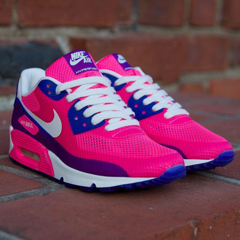 detailed look 8f3e3 76fdc Chaussures Nike Air Max 90 baskets Femmes Bleu Violet Rose (Nouveaux  Produits)