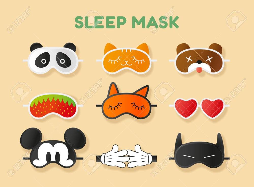 Máscaras para dormir establecen. Cara de animales, corazón