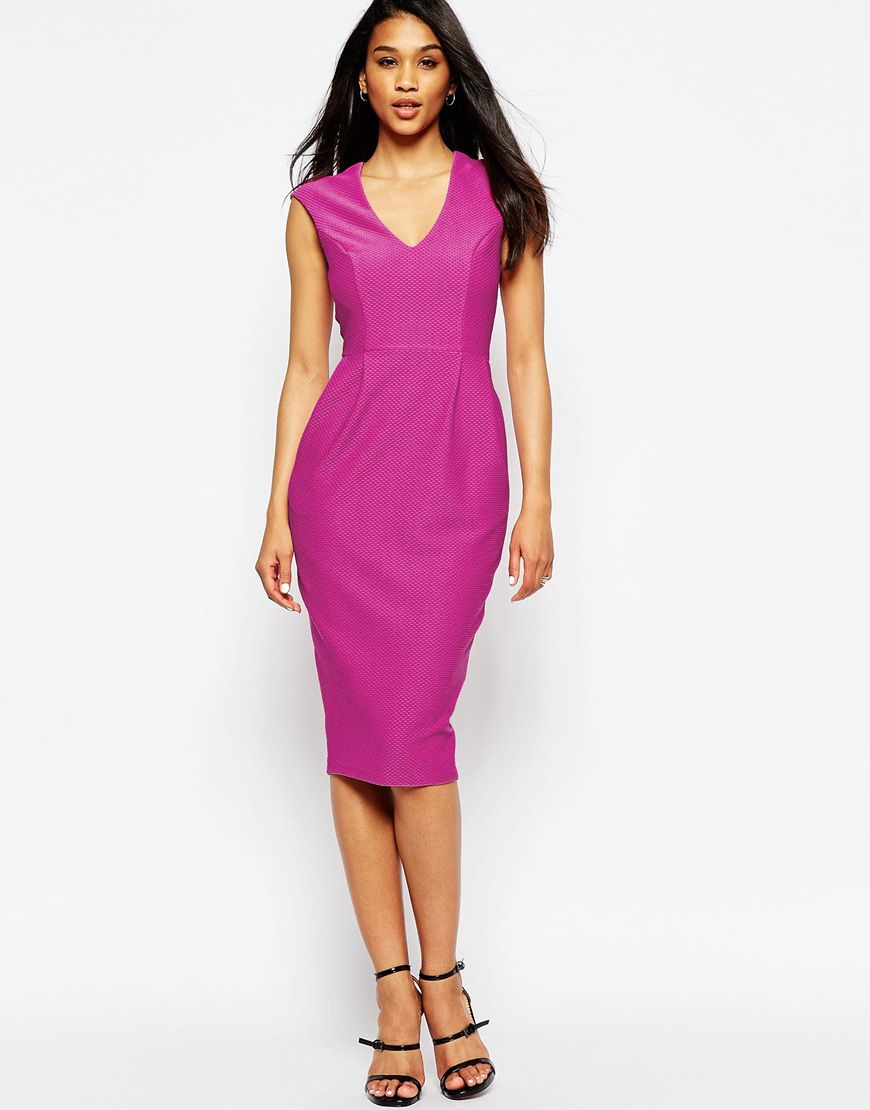 Wedding guest dress ideas  ASOS Wiggle Dress with V Neck in Textured Jersey  asos