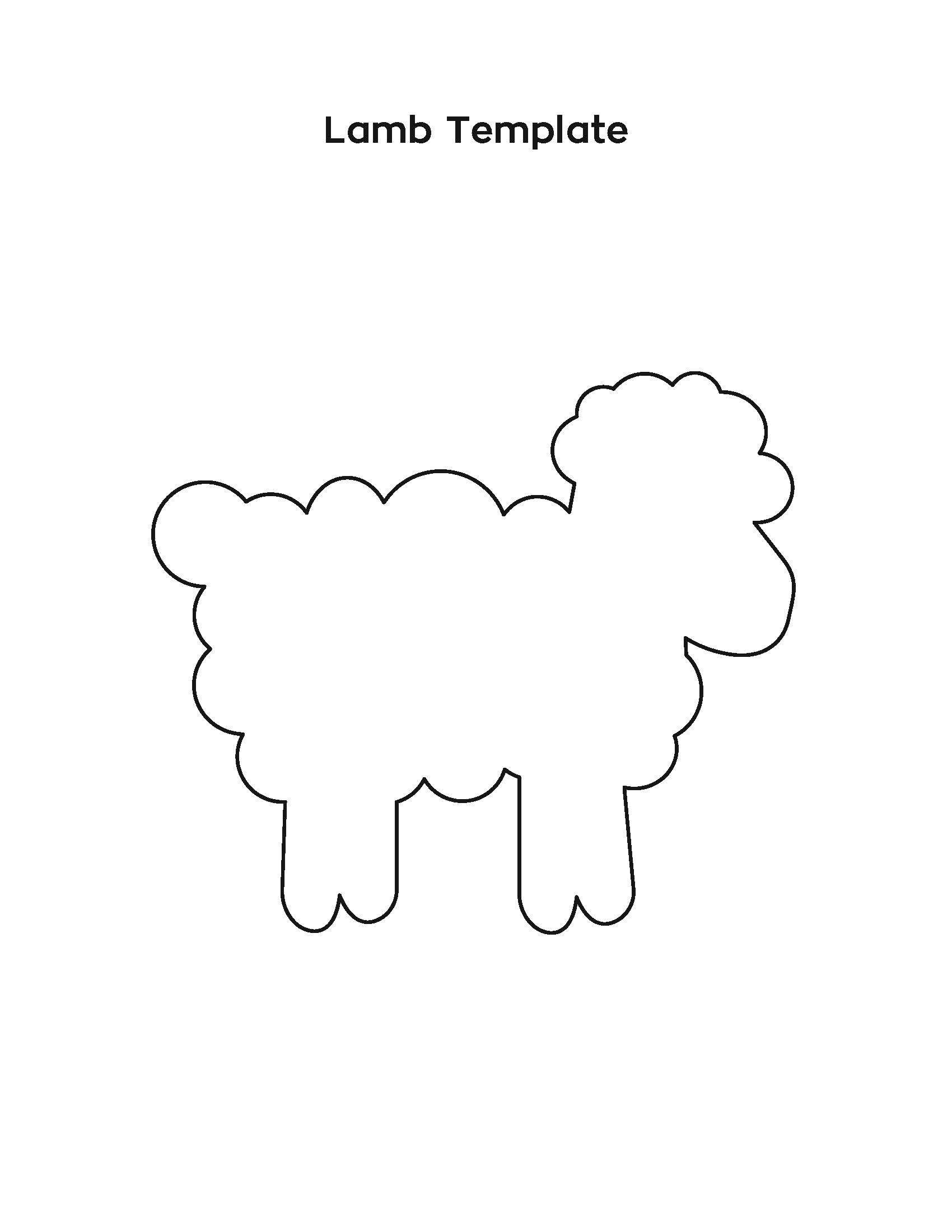 Lamb Template Lamb Craft Lamb Template Toddler Crafts [ 2200 x 1700 Pixel ]