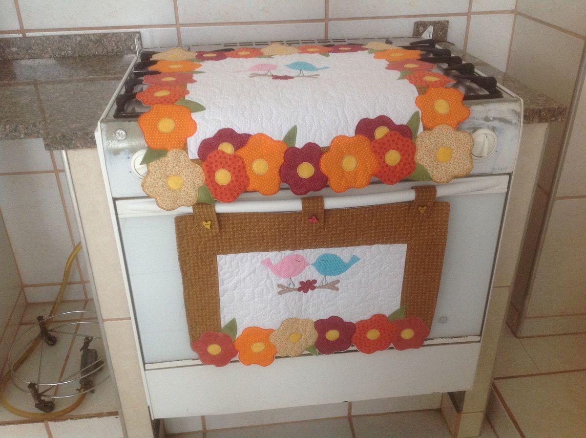11be67c743 capa e toalha fogao 6 bocas flores