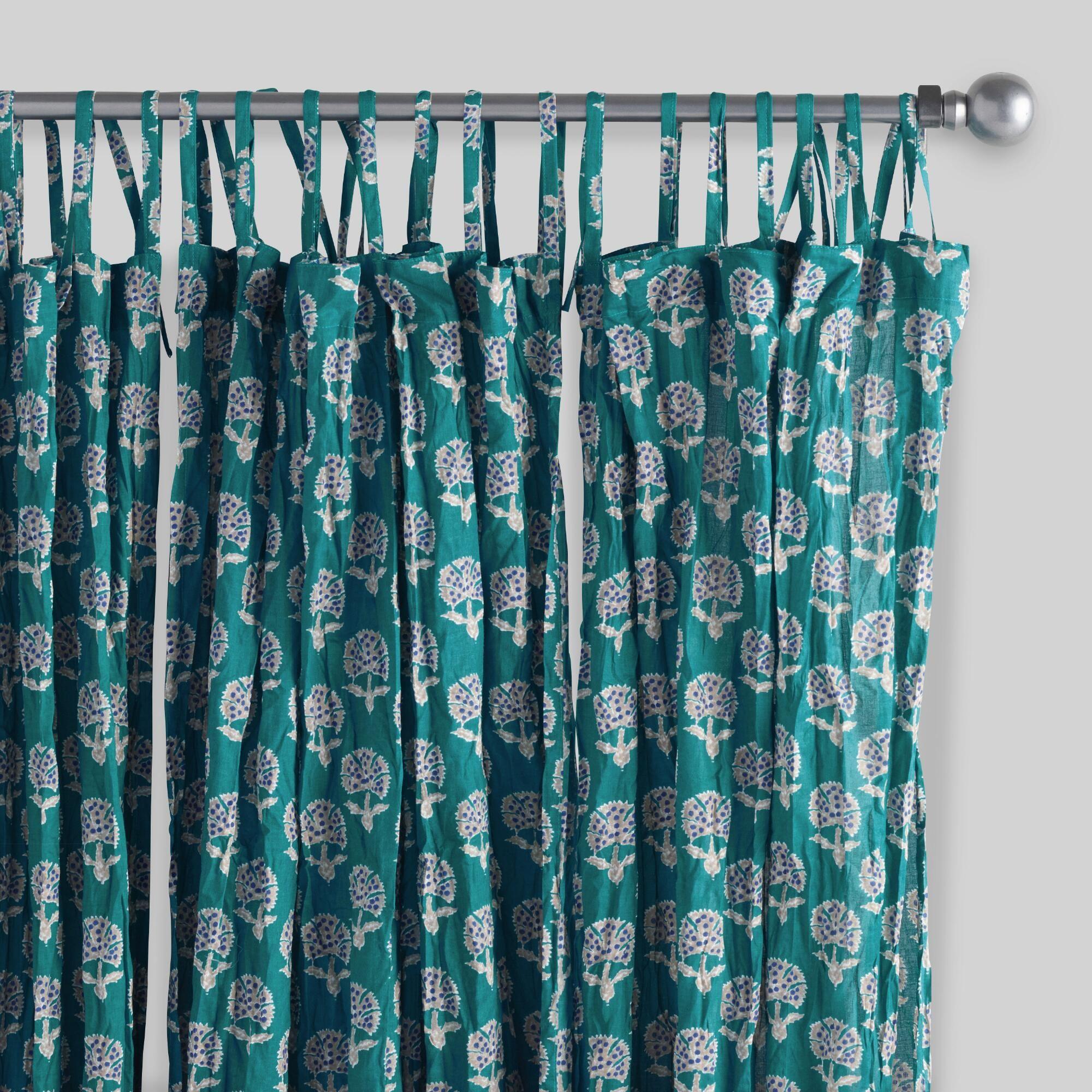 Light teal curtains - Aqua Medallion Crinkle Voile Curtains Set Of 2