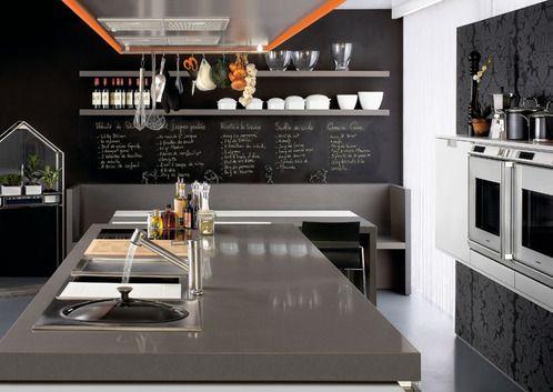 Cuisine Tout Un Pan De Mur En Ardoise Cuisine Pinterest - Carrelage mural ardoise cuisine pour idees de deco de cuisine