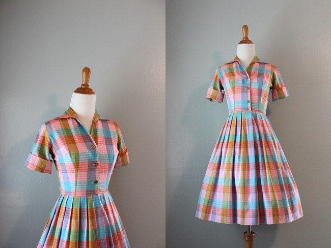 Vintage 50s Dress / 1950s Pastel Plaid Day Dress / 50s Shirtwaist Dress. $58.00, via Etsy.